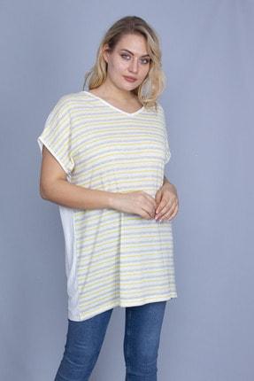 Şans Kadın Sarı Ön Çizgili Düşük Kollu Bluz 65N24249