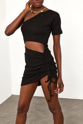 XENA Kadın Siyah Yanı Büzgülü Detaylı Elbise 1YZK6-11816-02