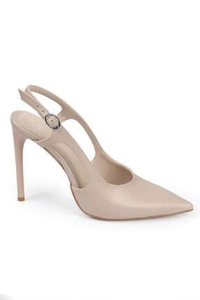 Capone Outfitters Kadın Gri Sivri Burunlu Topuklu Arkası Açık Ayakkabı
