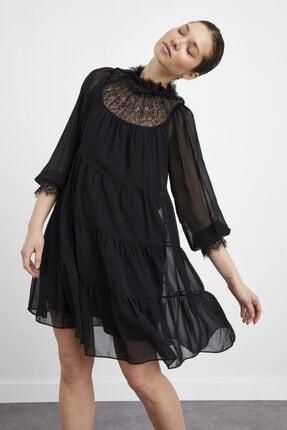 adL Kadın Siyah Yakası Dantel Büzgülü Şifon Mini Elbise