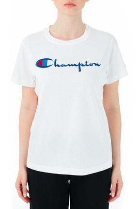 Champion Kadın Beyaz Logo Baskılı Bisiklet Yaka  T-Shirt