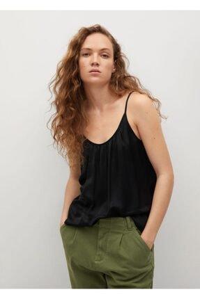 MANGO Woman Kadın Siyah İp Askılı Saten Üst Bluz