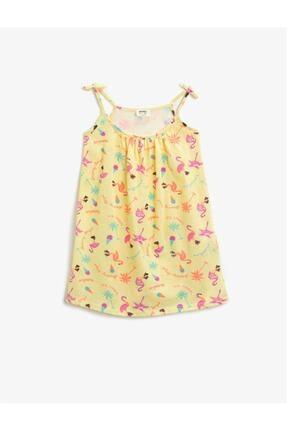 Koton Kız Çocuk Sarı Pamuklu Bisiklet Yaka Elbise