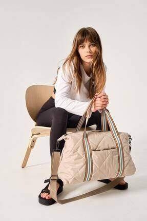 Shule Bags Kadın Kapitone Desen Bavul Çanta Porto Bej