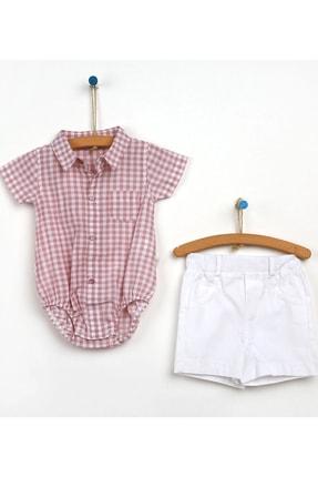 For My Baby Bebek Potukare Body Gömlek Şort 2'li Takım