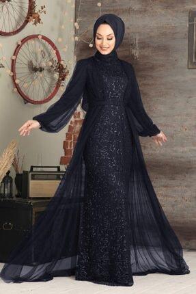 Neva Style Tesettürlü Abiye Elbise - Pul Payetli Lacivert Tesettür Abiye Elbise 5383l