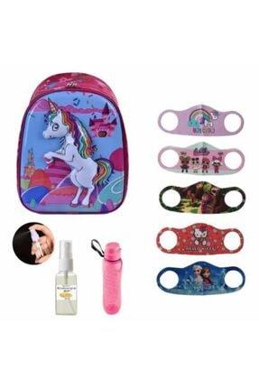 Mashotrend Kabartmalı Unicorn Kreş Anasınıfı Okul Çantası + 5 Adet Maske + 30ml Kolonya + Matara