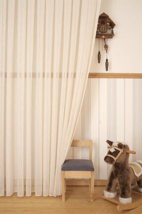 perfect curtain Bej Natural Keten Tül Perde, En 3 Metre, Pilesiz Düz Dikim 1. Kalite