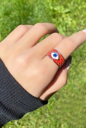TAKIŞTIR Kadın Kırmızı Göz Figürlü Ayarlanabilir Gümüş Renk Yüzük