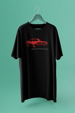 Delémont Unisex Siyah Spor Araba Baskılı Oversize T-shirt • Beprecious
