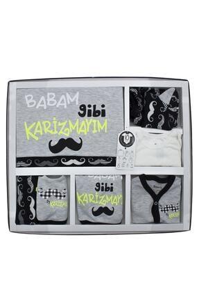 Miniworld Unisex Gri Babam Gibi Karizmayım 10'lu Yenidoğan Bebek Hastane Çıkışı Seti K3289