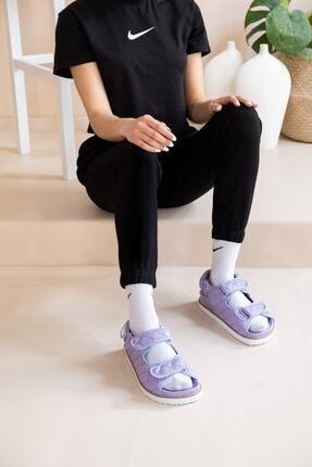 demiriz ayakkabı Kadın Lila Kapitone Desen Sandalet