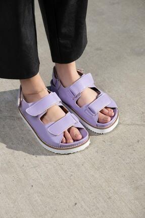 demiriz ayakkabı Kadın Mat Lila Cırtlı Sandalet