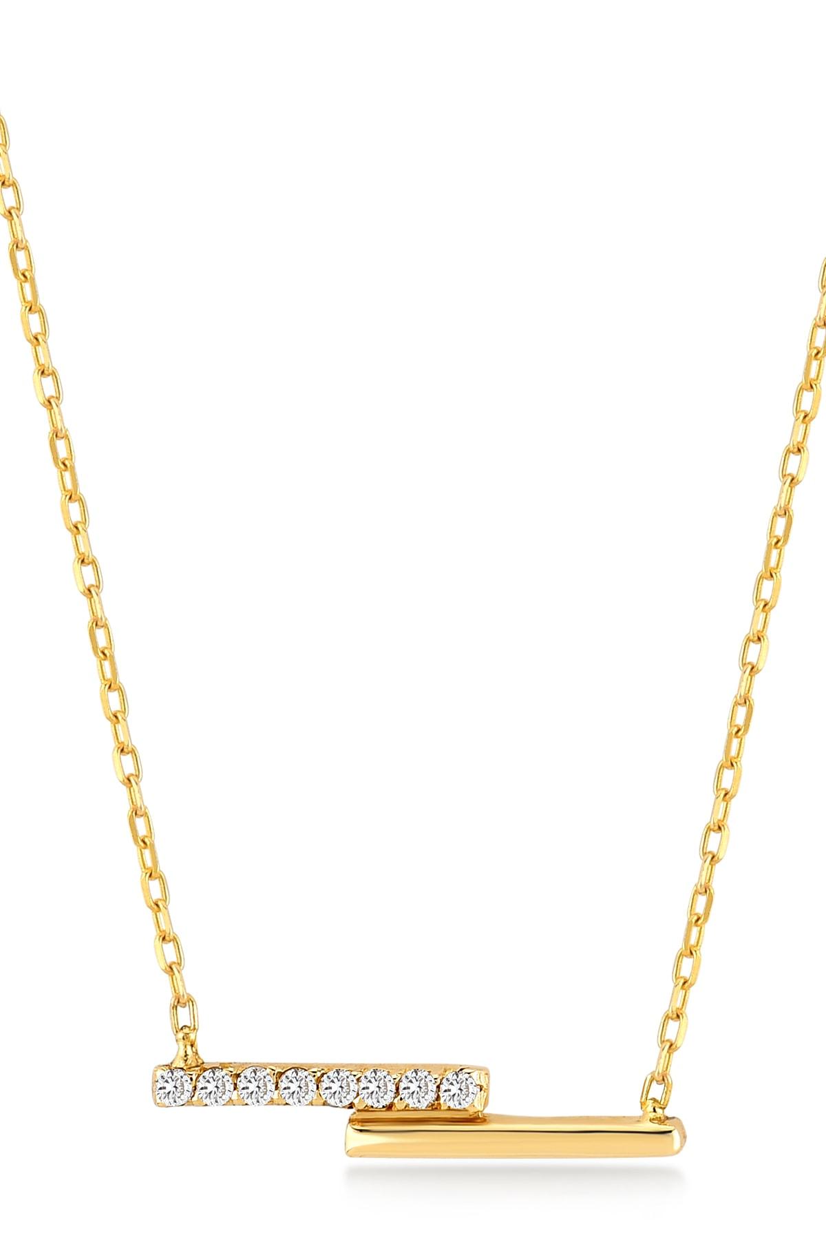 Gelin Pırlanta Kadın Altın Diamond Çift Bar Pırlanta Kolye 1