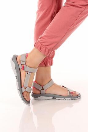 salpa Kadın Gri Günlük Outdoor Trekking Cırtlı Kaymaz Taban Sandalet Soby11050033