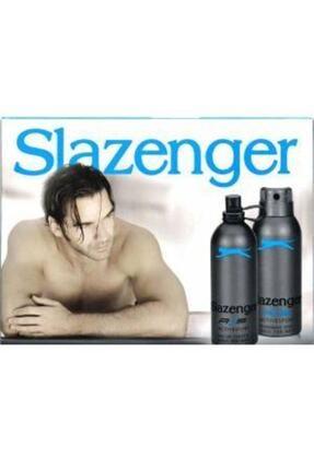 Slazenger Orıjınal Parfüm Edt 125ml + 150ml Erkek Deodorant Mavi Kofre Set