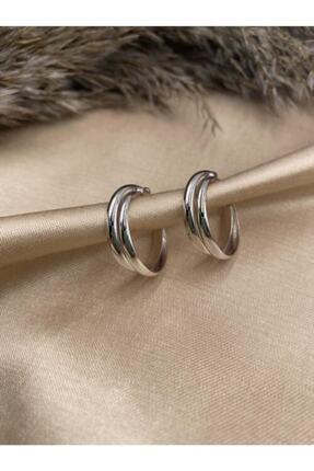 Eylülün Takısı Gümüş Renk Ikili Halka Küpe