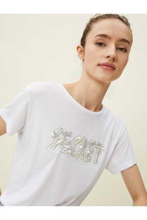 Koton Kadın Ekru Kısa Kol T-shirt