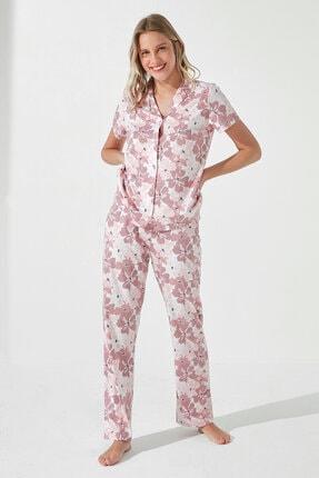 Penti Roze Gift Pink Floral Gömlek Pantolon Takımı