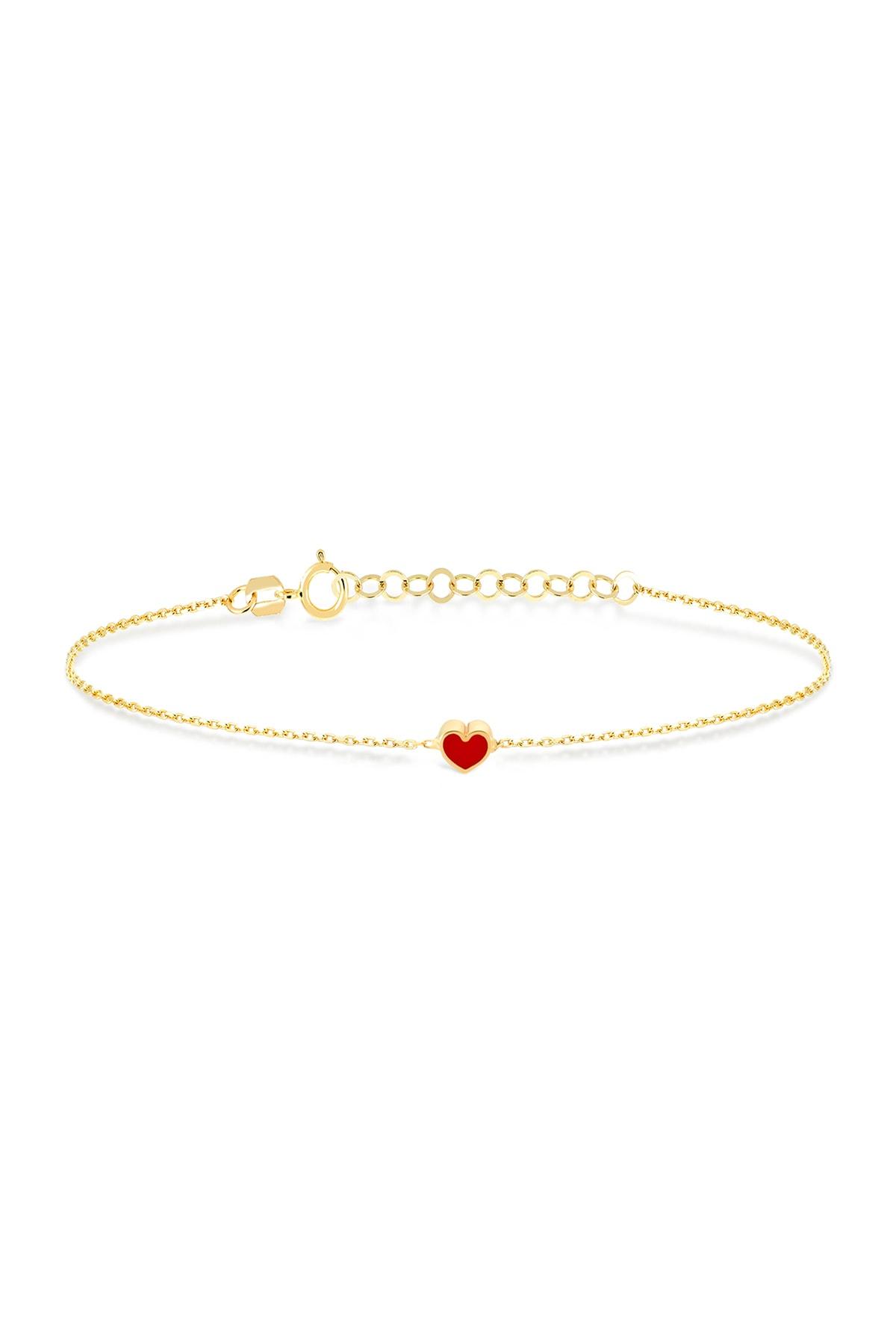 Gelin Pırlanta 14 Ayar Altın Mini Kırmızı Kalp Bileklik 1