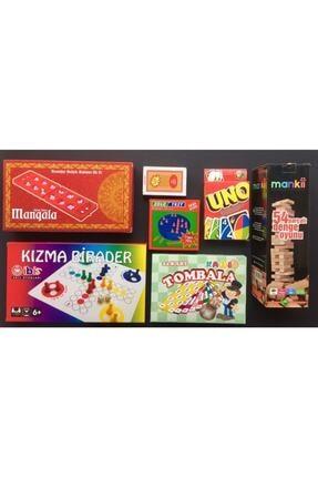 Kırtasiye Market Yılbaşı Seti 7'li Eğlenceli Oyunlar Tombala Kızmabirader Mangala Solotest Iskambil Uno Denge