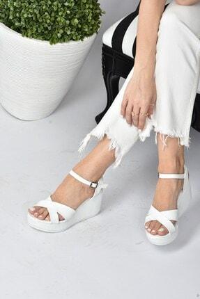 Fox Shoes Kadın Beyaz Dolgu Topuklu Ayakkabı