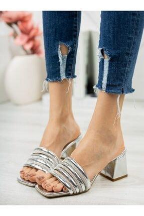 ayakkabıhavuzu Kadın Gümüş Topuklu Terlik