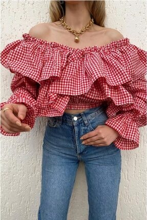 BENGİ BUTİK Kadın Kırmızı Pötikare Bluz
