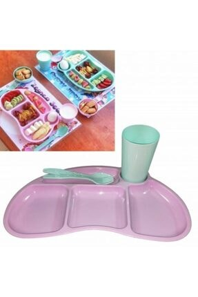 BEKA Tabldot Çocuk Yemek Plastik Tabldot Set 4 Parça - Bölmeli Bardak Çatal Kaşıklı