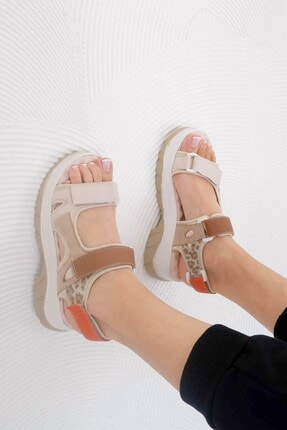 Tinka Bell Shoes 4740 Kadın Sandalet Bej - Leopar