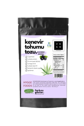 Hyggefoods Vegovego Kenevir Kendir Tohumu Tozu - Acai Berry Aromalı