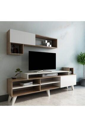 ARNETTİ Alfa Tv Ünitesi Yaşam Odası, Salon, Ve Oturma Odası, Tv Sehpası Beyaz-ceviz