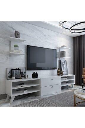 ARNETTİ Almira Raflı Tv Ünitesi, Yaşam Odası, Salon, Ve Oturma Odası, Tv Sehpası Beyaz