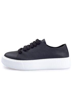 Flower Kadın  Siyah Deri Bağcıklı  Sneakers