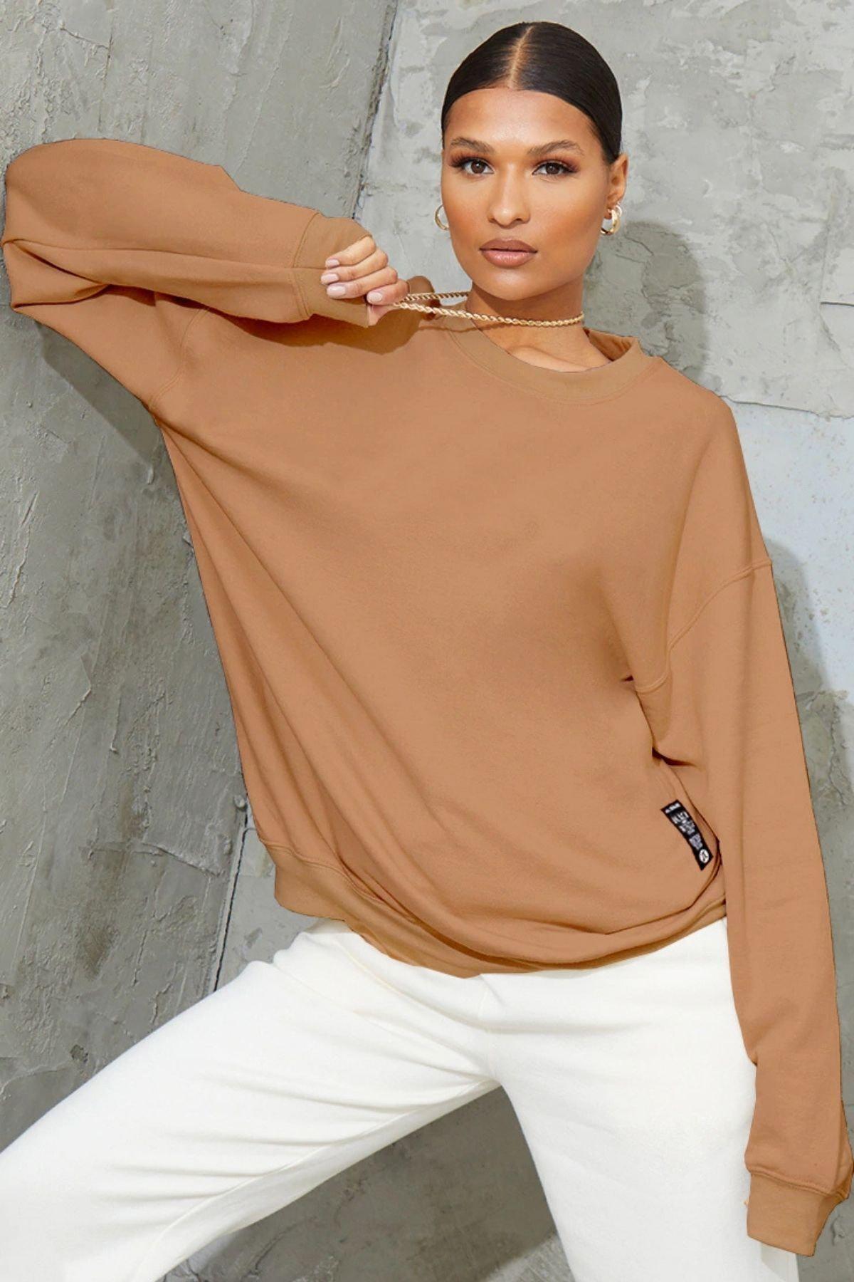 Millionaire Kadın Açık Kahve Bol Kesim Polar Sweatshirt 1