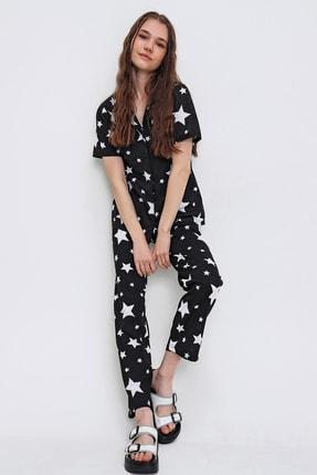 Trend Alaçatı Stili Kadın Siyah Desenli Gömlek Yaka Pijama Takımı ALC-X6341