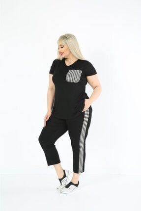 ModaSehle Kadın  Büyük Beden Siyah Cep Ve Şerit Kazayağı Detaylı Yazlık Kapri Eşofman Takımı