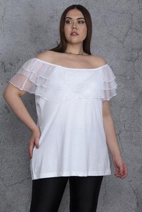 Şans Kadın Beyaz Yakası Lastik Ve Tül Volanlı Bluz 65N24474