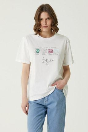 Network Kadın Basic Fit Ekru Baskılı T-shirt 1079952