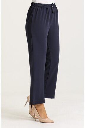 Moda Bu Kadın Lacivert Beli Lastikli Bol Paça Salaş Yazlık Pantolon Aerobin-865829