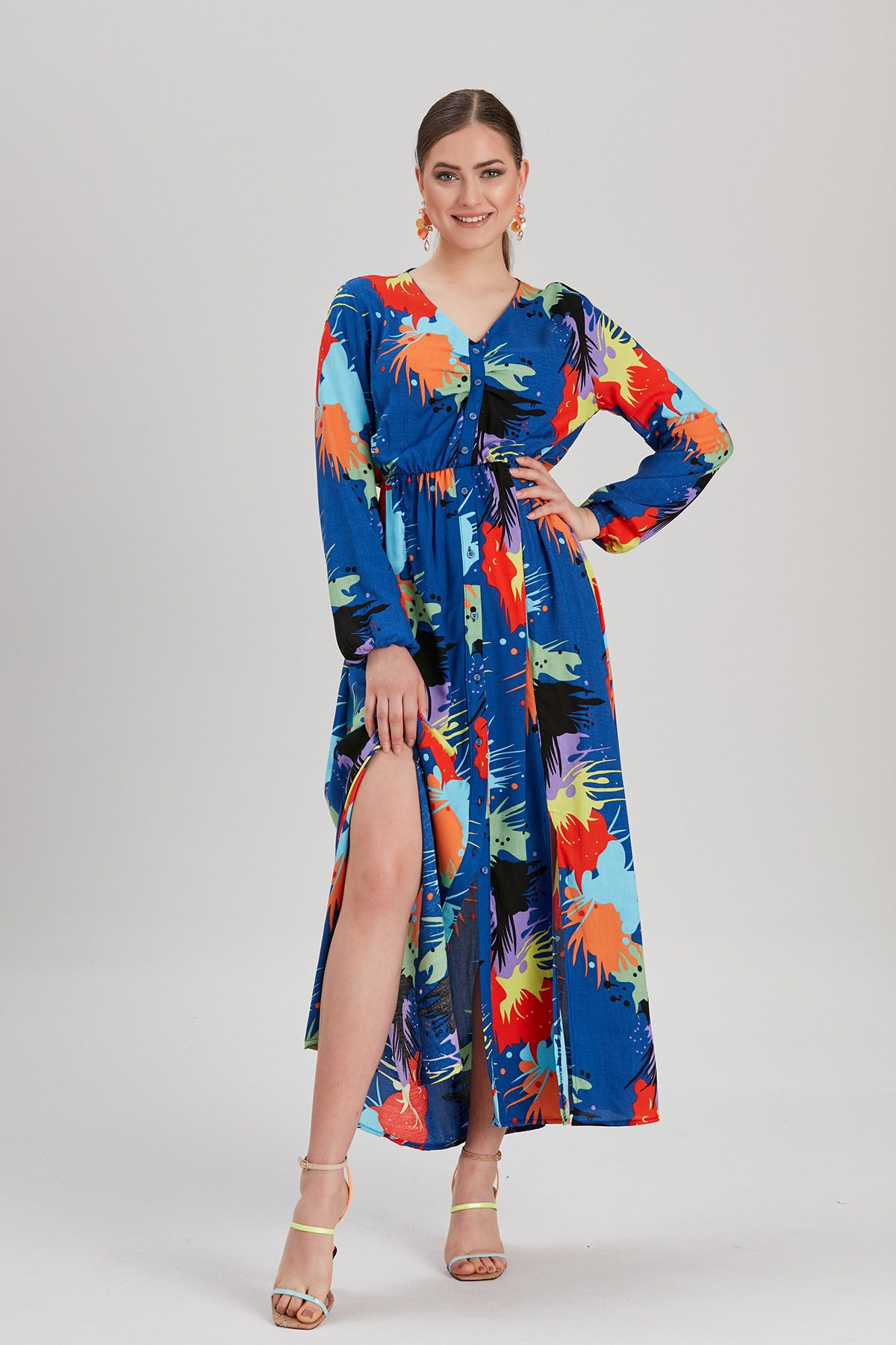 Y-London Kadın Lacivert Yırtmaçlı Uzun Elbise YL-EL99780