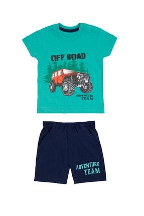 Pattaya Kids Erkek Bebek Yeşil  Baskılı Kısa Kollu 2li Takım 6-24 Ay Pb21s505-2055
