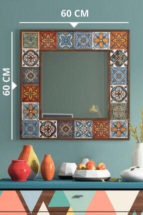 bluecape Doğal Ağaç Çerçeveli El Yapımı 60*60 Gerçek Çini Seramik Kaplı Salon Ofis Mutfak Duvar Aynası