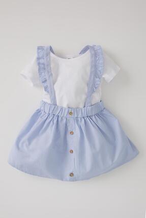 DeFacto Kız Bebek Çizgili Keten Görünümlü Elbise Ve Kısa Kollu Tişört Takımı
