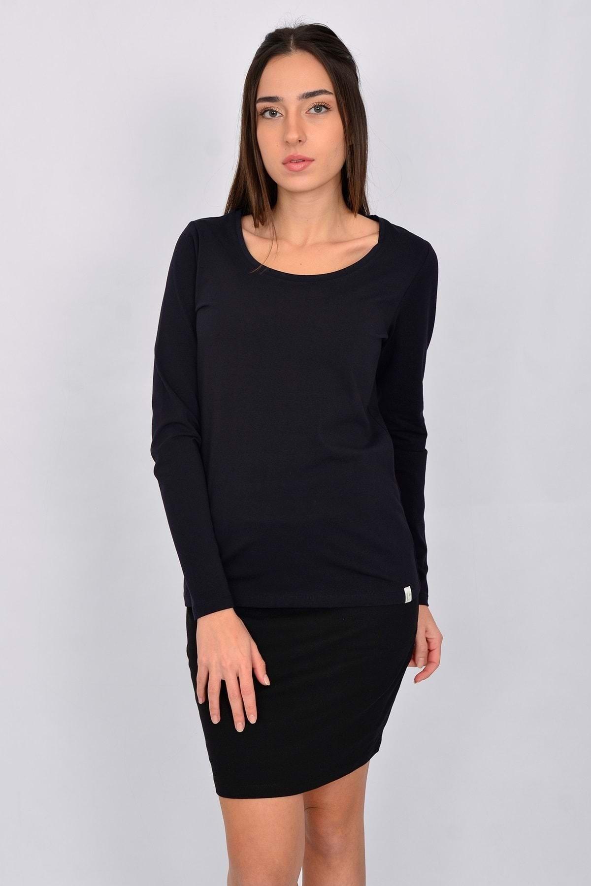 Letoile Pamuk Likralı Uzun Kollu Kadın T-shirt Lacivert 1