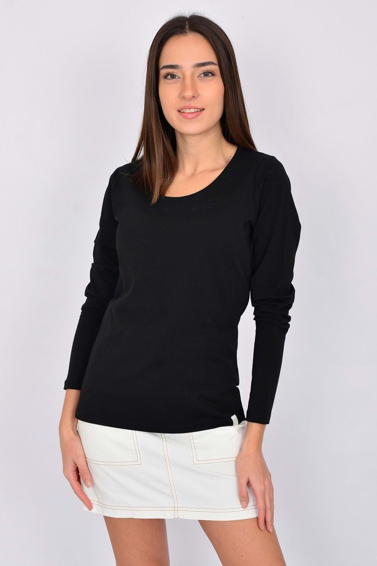 Letoile Pamuk Likralı Uzun Kollu Kadın T-shirt Siyah 1