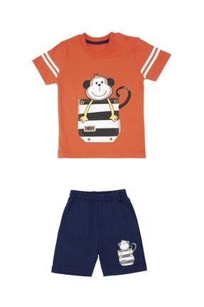 Pattaya Kids Erkek Bebek Turuncu Maymun Baskılı 2li Takım