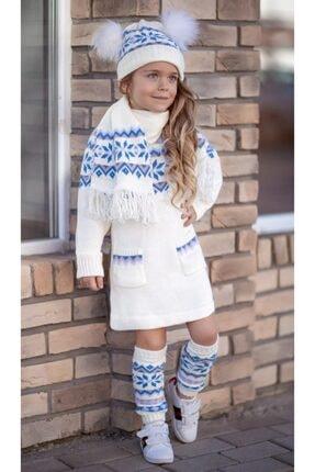 Riccotarz Kız Çocuk Diva Mavi Triko 4lü Elbise