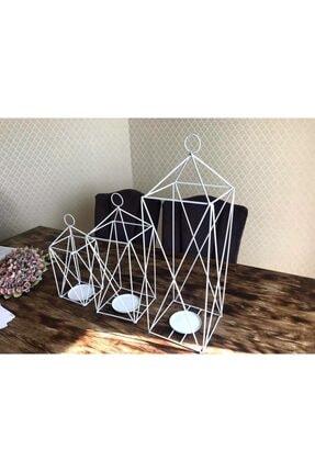 YOKO Dekoratif 3'lü Set Ferforje Kafes Fener Mumluk Beyaz