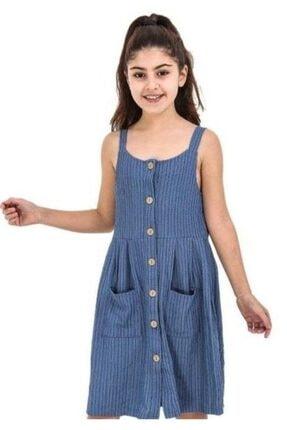 Riccotarz Kız Çocuk Mavi Askılı Düğmeli Cepli Elbise